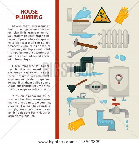 House plumbing information poster for kitchen or bathroom sewerage leakage repair. Vector infographics template of bathtub or sink and toilet, water heater or sewage pipe plumber equipment tools