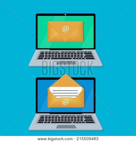 Laptop with envelope and read email on screen. Email marketing, sending and receiving email