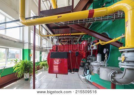 Large gas boilers. Modern industrial boiler room.