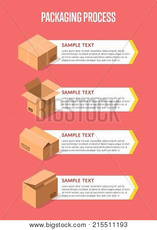 Packing process banner with paper boxes. Postal service design with empty opened and closed cardboard boxes vector illustration. Commercial delivery tare, goods package, shipping containers.