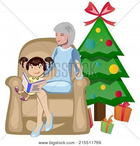 cartoon grandma and Grand-daughter Christmas vector illustration