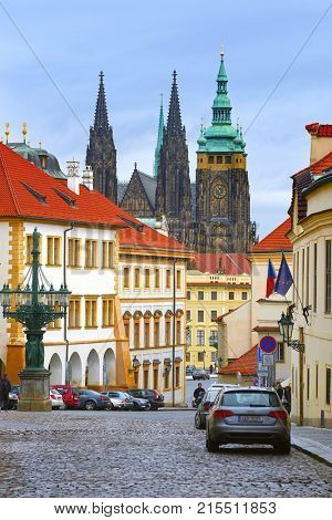 Prague, Czechia - November, 23, 2017: street in a center of Prague with view to St Vita Cathedral in Prague