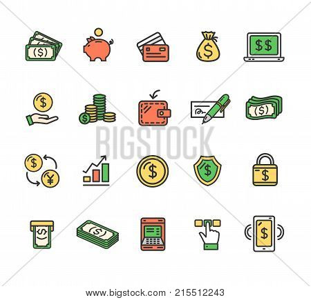 Money Finance Symbols and Signs Color Thin Line Icon Set Include of Mobile, Notebook and Chart. Vector illustration