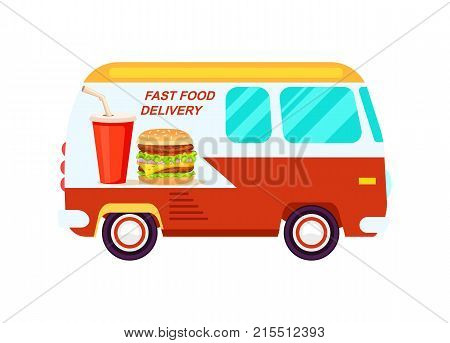 Fast food delivery van icon. Order food on home, product shipping advertising vector illustration. Restaurant food express delivery service label with commercial van