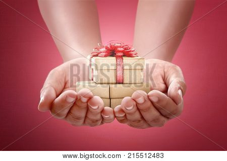 Human Hands Holding Gift For Boxing Day