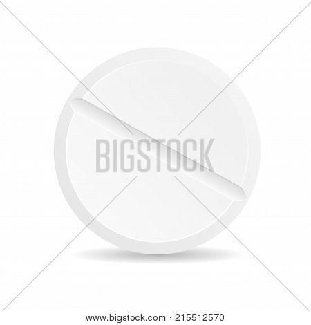 Realistic Detailed 3d Template Blank White Tablete Closeup View Vitamin, Painkiller or Drug for Web Design. Vector illustration