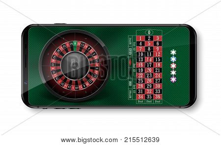 Realistic casino roulette wheel with chips isolated on green table. Online 3d casino roulette on phone with place for text. vector illustration EPS 10