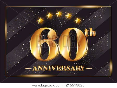 60 Years Anniversary Celebration Vector Logotype. 60th Anniversary Gold Badge with Glitter. Luxury Shiny Design for Greeting Card Invitation Congratulation Card. Isolated on Black Background.