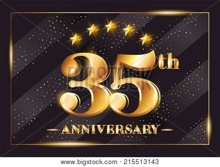 35 Years Anniversary Celebration Vector Logo. 35th Anniversary Gold Icon with Stars and Frame. Luxury Shiny Design for Greeting Card Invitation Congratulation Card. Isolated on Black Background.