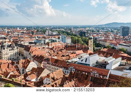Graz, Austria - August 11, 2017: High angle view of cityscape of Graz from Schlossberg,