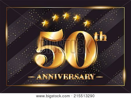 50 Years Anniversary Celebration Vector Logotype. 50th Anniversary Gold Badge with Glitter. Luxury Shiny Design for Greeting Card Invitation Congratulation Card. Isolated on Black Background.