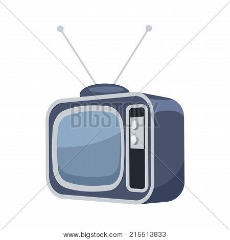 Vintage TV set isolated icon. Retro TV, home interior furniture element vector illustration
