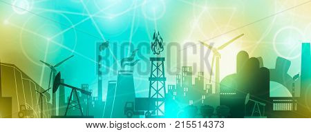 Energy and Power icons set. Header or footer banner. Sustainable energy generation and heavy industry. Softly blurred backdrop.