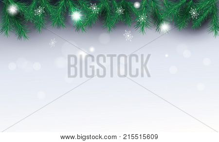 Border of fir twigs Christmas decoration on silver bokeh lights background with snowflakes falling, snow, vector illustrations, Christmas and Happy New Year blank page template fir tree branches frame greeting card.