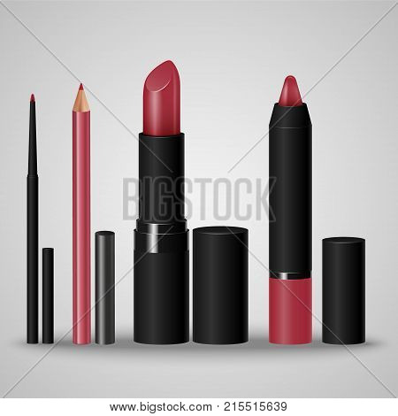 Set Of Cosmetics For Make-up Lips. Lip Liner, Lip Pencil, Lipstick, Crayon.