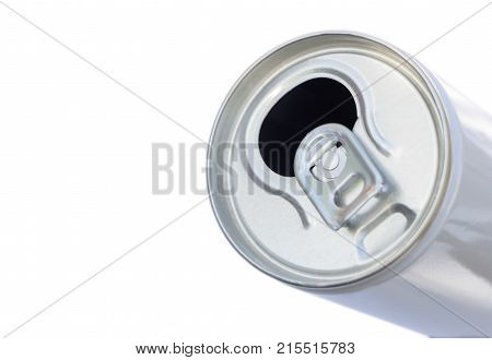 open a Canned beverage isolated on white background. Closeup of canned drink pull tab opening.