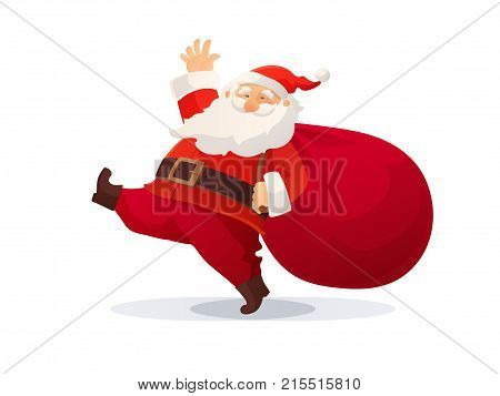 Christmas vector illustration. Funny cartoon Santa Claus with huge red bag with presents. Red Santa hat. Great For Christmas and New Year posters, gift tags and labels, website decoration