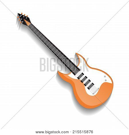 Orange bass guitar icon in flat style. Popular music instrument for jazz, pop, rock and roll, metal music vector illustration isolated on white background.