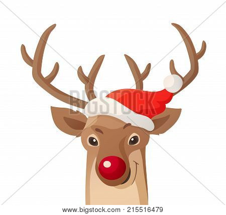 Cartoon Christmas illustration. Funny red nose reindeer in Santa red hat isolated on white. Great for Christmas and New Year posters, banners, gift tags and labels.