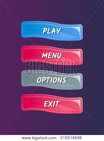 Cartoon designed game user interface. Play, menu, options and exit cartoon buttons, options selection windows panel. Bright design isolated vector illustration
