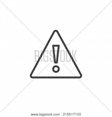 Warning attention line icon, outline vector sign, linear style pictogram isolated on white. Exclamation mark triangle symbol, logo illustration. Editable stroke
