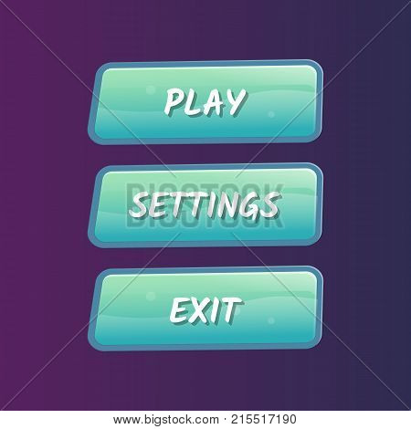 Blue options selection windows set in cartoon style. Play, settings and exit buttons. Bright user game design isolated vector illustration