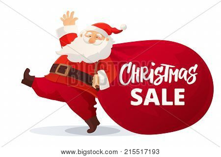 Christmas advertising design. Funny cartoon Santa Claus with huge red bag with presents. Christmas sale hand drawn text. Great for New Year promotion banners, headers, posters, stickers and labels.