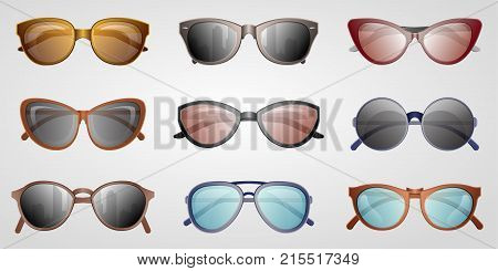 Different summer sunglasses icon set. Male and female elegant eyeglasses, fashion accessory isolated on white backogrund vector illustration. Glasses in classics, unisex, hipsters and aviator style.