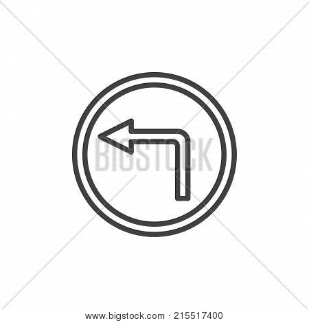 No turn left road line icon, outline vector sign, linear style pictogram isolated on white. Do not turn left traffic sign symbol, logo illustration. Editable stroke