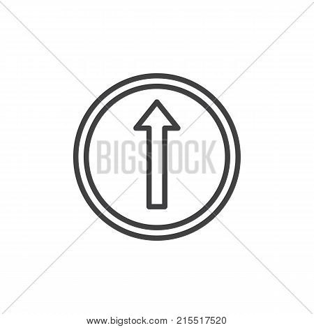 Go straight road sign line icon, outline vector sign, linear style pictogram isolated on white. Straight ahead traffic sign symbol, logo illustration. Editable stroke