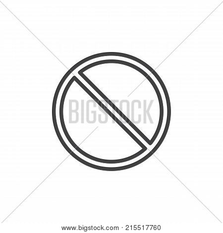 Access denied prohibition line icon, outline vector sign, linear style pictogram isolated on white. Symbol, logo illustration. Editable stroke