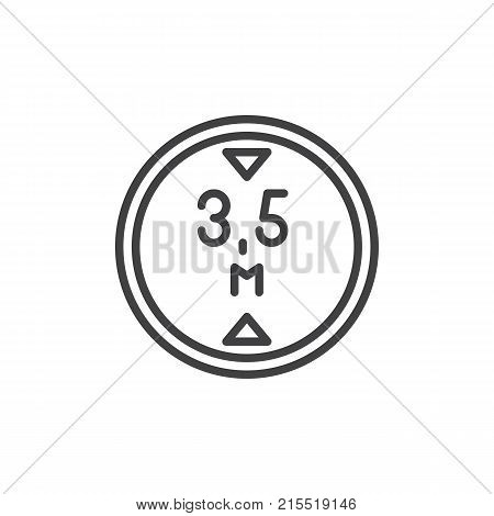 Road sign maximum height 3, 5 line icon, outline vector sign, linear style pictogram isolated on white. Symbol, logo illustration. Editable stroke