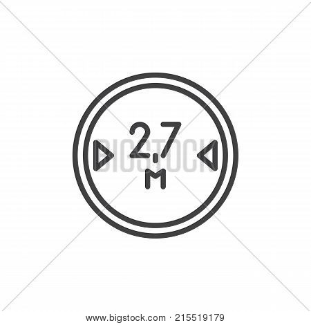 Road sign maximum vehicle length 2, 7 line icon, outline vector sign, linear style pictogram isolated on white. Symbol, logo illustration. Editable stroke
