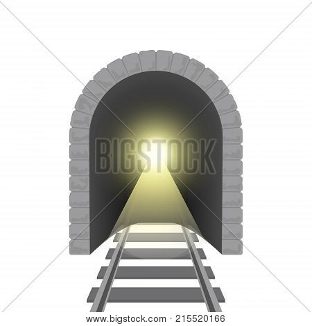 Realistic Detailed 3d Railroad Tunnel Perspective Isolated on White Background. Vector illustration of Railway Train Transport Road or Metro