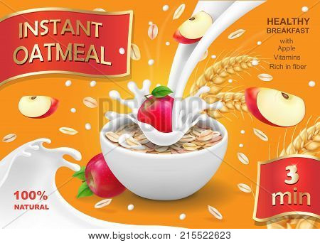 Oatmeal instant with apple and milk ads. Vector realistic illustration