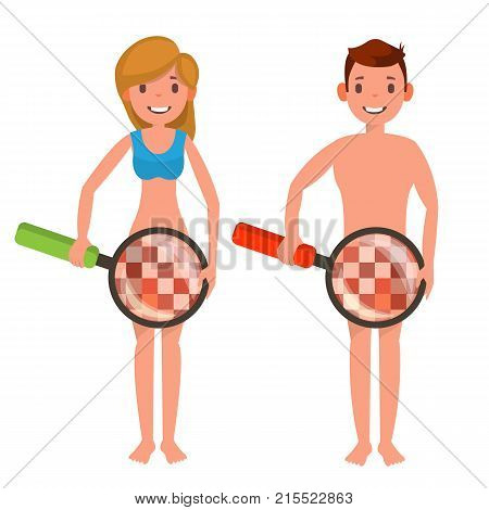 Venereal Disease Check Vector. Naked Man And Woman With Magnifying Glass. Censored Skin. Body Female, Male Impotence Healthcare Venereal Disease Sex Concept. Isolated