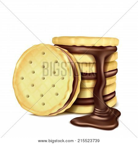 Several sandwich-cookies with chocolate filling and pouring melted chocolate, realistic vector illustration isolated on white background. Sweet crispy cookies with chocolate cream, design element