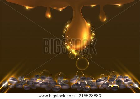 Golden drop background ready to use, coffee extract skincare ad background. illustration vector.