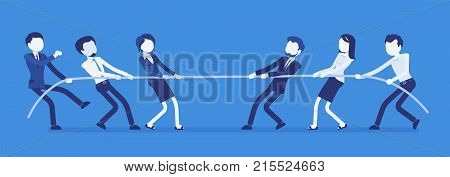 Tug of war. Teams of businessmen pulling on opposite ends of rope against each other, struggle for corporate supremacy or market control. Vector business concept illustration with faceless characters