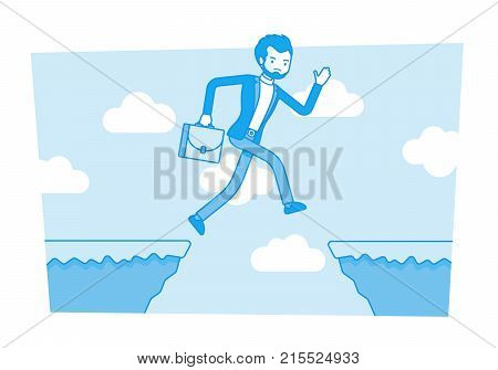 Man jumping over the abyss. Undertaking life-threatening actions to earn and get much more, investing with danger into startup, risky money making ideas. Vector business concept line art illustration