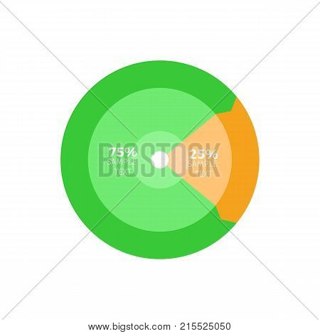 Circles colorful infographic with one third green color and 25 percent in orange. Information presented on round chart, circular pie graphic design