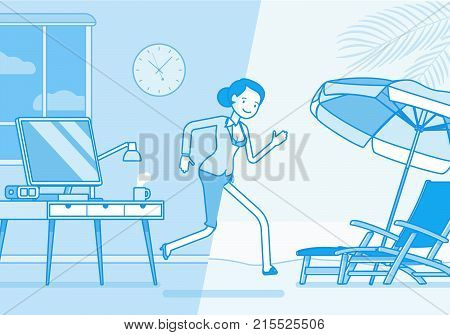 Woman leaps to vacation.  female office worker runs into relax area of a sunny beach, dreaming of hot summer. Vector business concept line art illustration