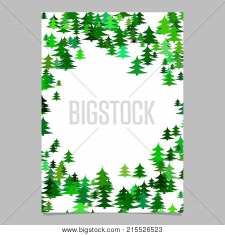 Abstract random seasonal pine tree design stationery template - blank winter vector flyer border graphic from stylized pine trees on white background