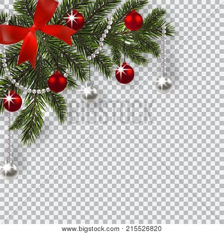 New Year Christmas. A green branch of a Christmas tree with toys with a shadow. Corner drawing. Blue onions, silver and red balls on a checkered background. Vector illustration