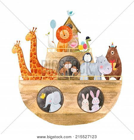 Beautiful baby illustration with watercolor noah's ark with cute animals