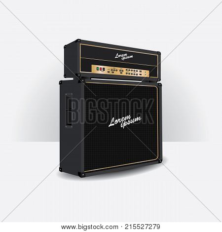 Set of Amplifier Realistic for Guitar vector illustration