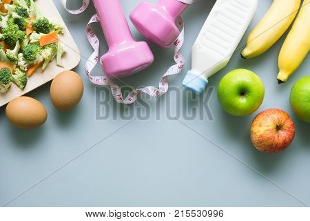 Dieting, Healthy And Active Lifestyles Concept, Sport Shoes, Tape Measure, Bottle Of Milk, Apples, S