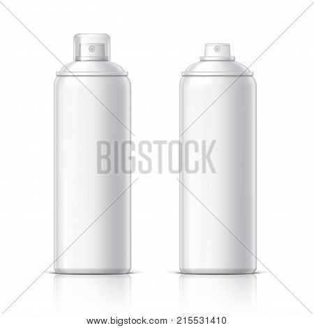 Realistic Shaving Foam Aerosol. Cosmetics bottle can Spray, Deodorant, Air Freshener. With lid. Object, shadow, and reflection on separate layers. Vector illustration