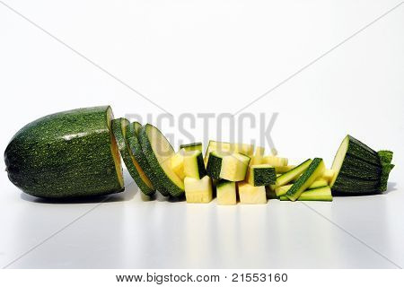 courgette diced in different ways