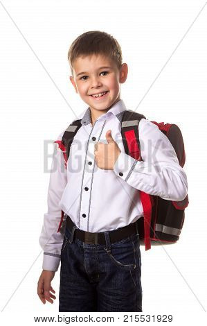 Cheerful school boy with backpack, with thumb up, love going to school on white background.